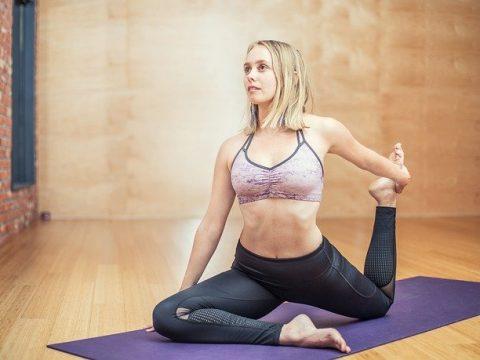 Yoga on mat